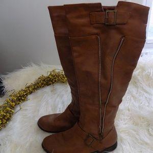 Shin High Brown Riding Boots